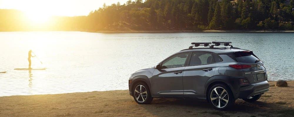 2019 Hyundai Kona parked by a lake