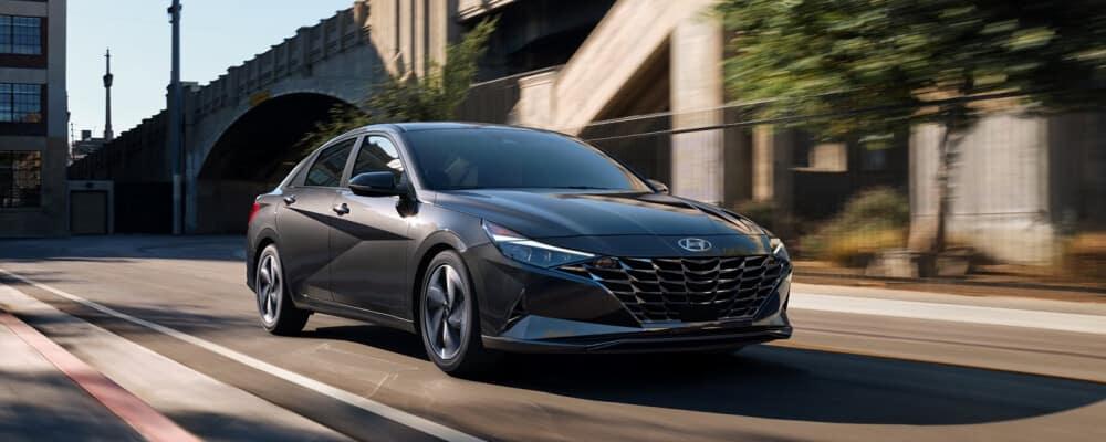 2021 Hyundai Elantra going down city street