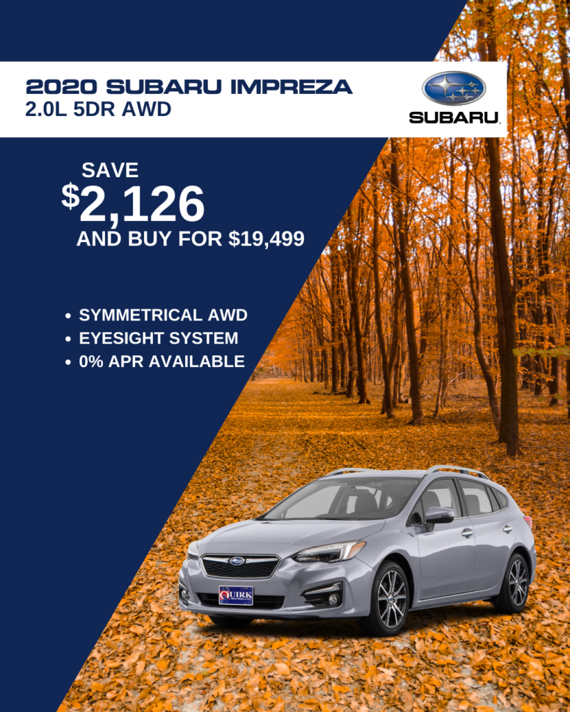 Save $2,126 and Buy 2020 Subaru Impreza Hatchback 2.0i CVT AWD For $19,499