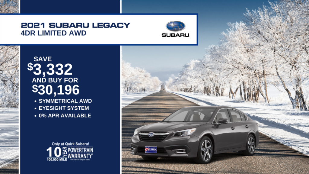 Save $3,332 and Buy 2021 Subaru Legacy 5D Ltd 2.5L Cvt For $30,196