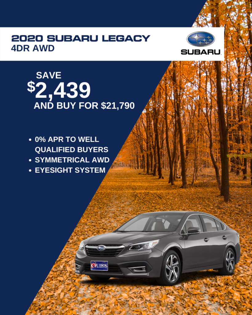 Save $2,439 and Buy 2020 Subaru Legacy 4Dr Alloy Cvt For $21,790