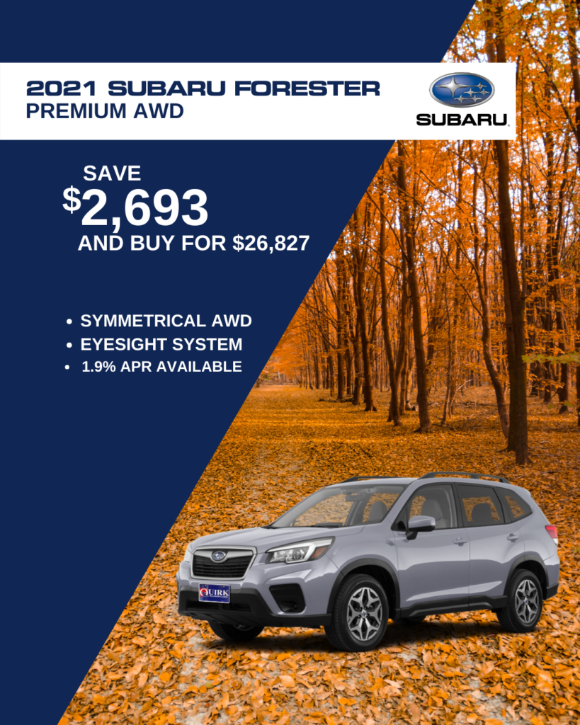 Save $2,693 and Buy 2021 Subaru Forester Premium 2.5L CVT AWD SUV For $26,827