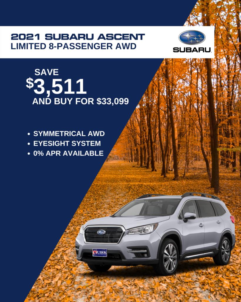 Save $3,511 and Buy 2021 Subaru Acent Premium  8-passenger AWD CVT SUV For $33,099