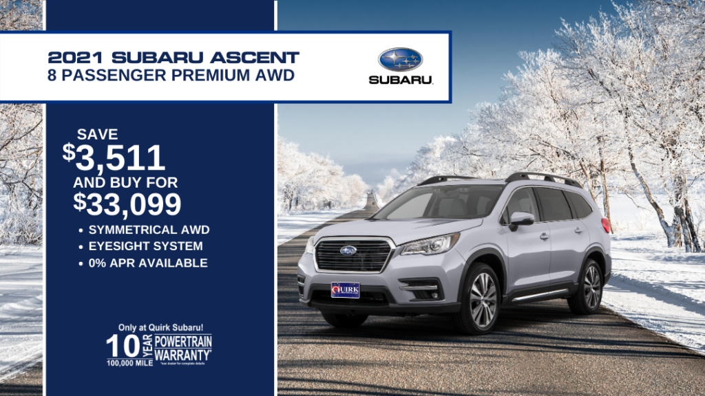 Save $3,511 and Buy 2021 Subaru Ascent 8 pass Prem For $33,099