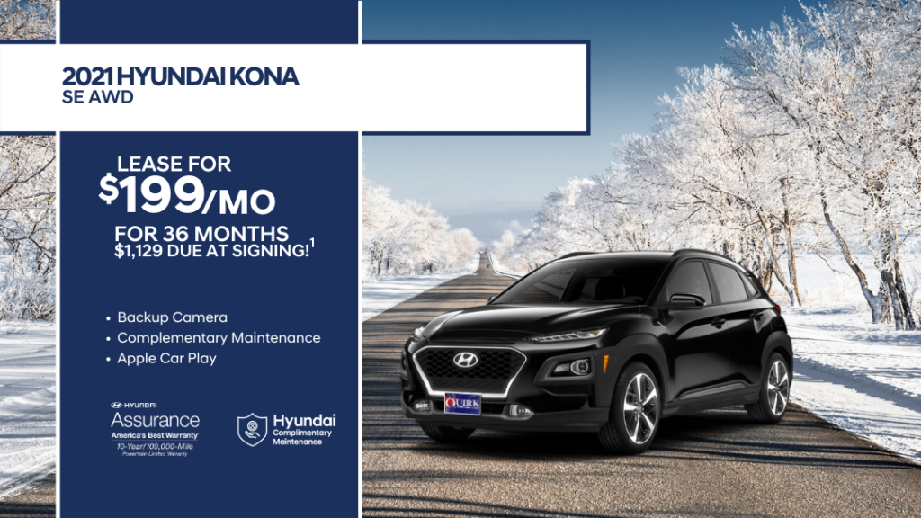 Lease 2021 Hyundai Kona SE AWD SUV At For $199/month, $1,129 Due At Signing