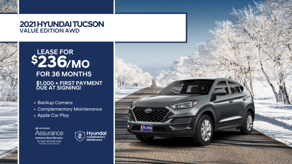 Lease 2021 Hyundai Tucson Value Edition AWD SUV For $236/month, $1,236 Due At Signing