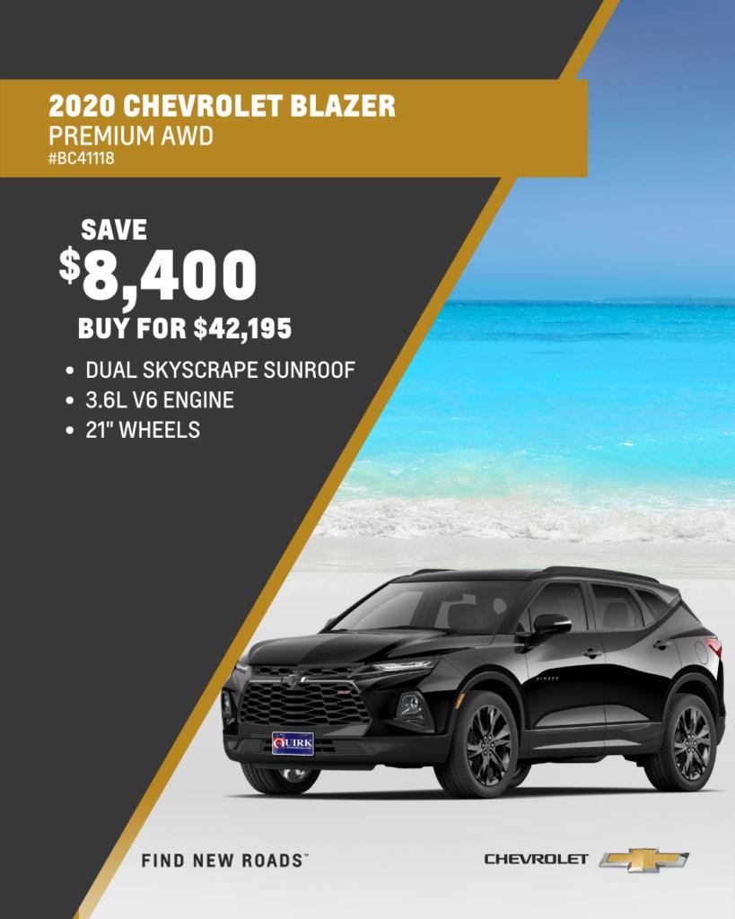Save $8,400 and Buy 2020 Chevrolet Blazer Premium AWD SUV For $42,195