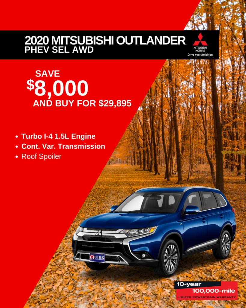 Save $8,000 and Buy 2020 Mitsubishi Outlander PHEV SEL SUV 4WD For $29,895