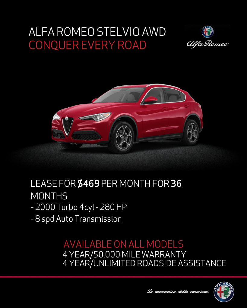 Lease 2020 Alfa Romeo Stelvio Awd Stelvio For $469/month, $4,764 Due At Signing