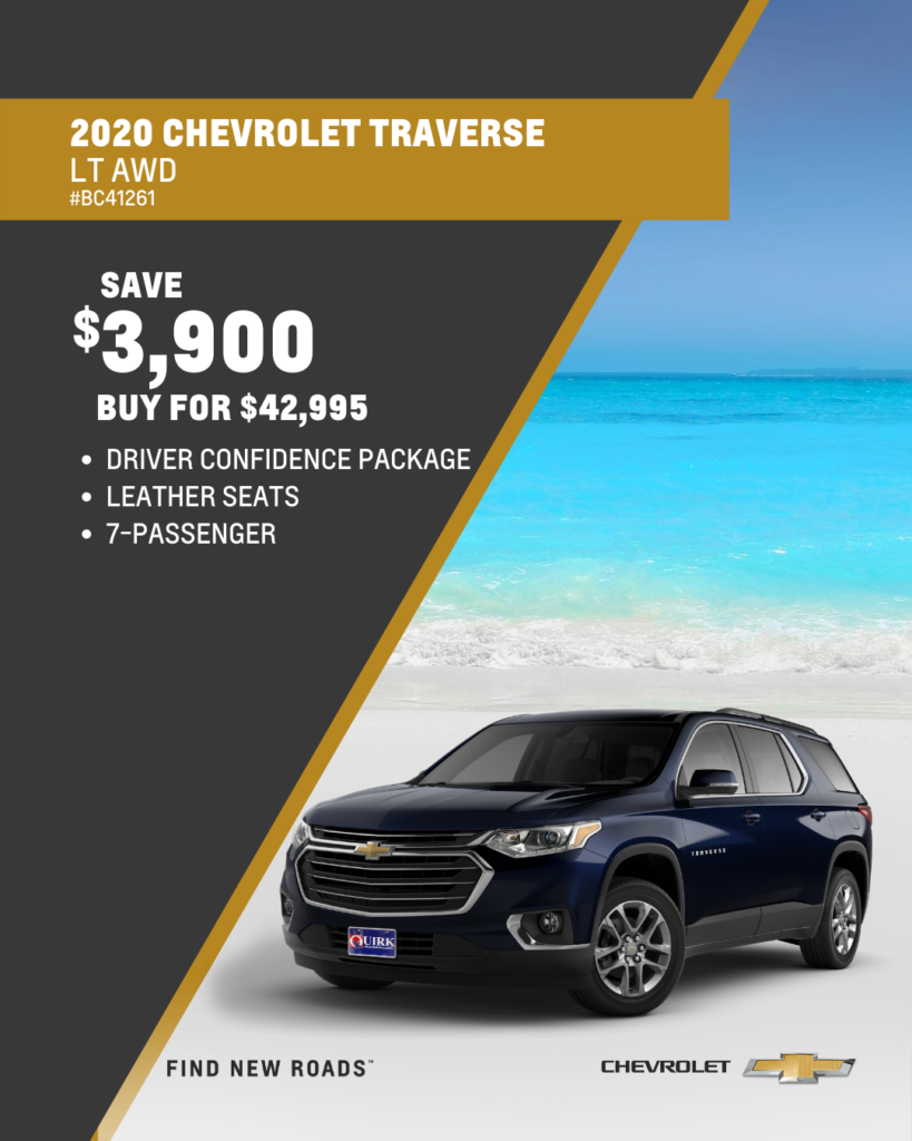 Save $3,900 and Buy 2020 Chevrolet Traverse LT AWD SUV For $42,995