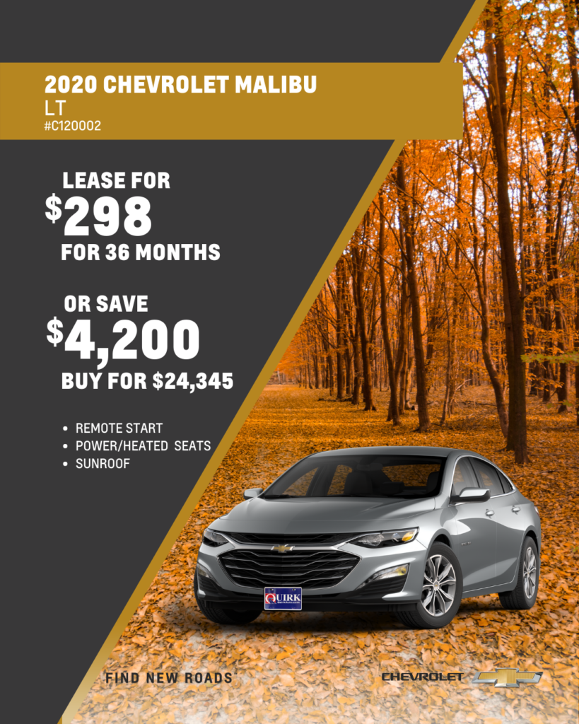 Save $4,200 and Buy 2020 Chevy Malibu LT FWD Sedan For $24,345