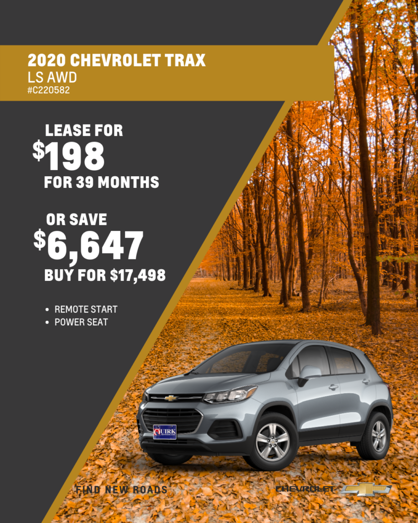 Save $6,647 and Buy 2020 Chevy Trax LT AWD SUV For $19,498