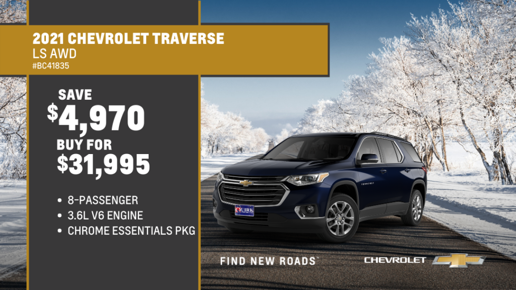 Save $4,970 and Buy 2021 Chevrolet Traverse LS AWD SUV For $31,995