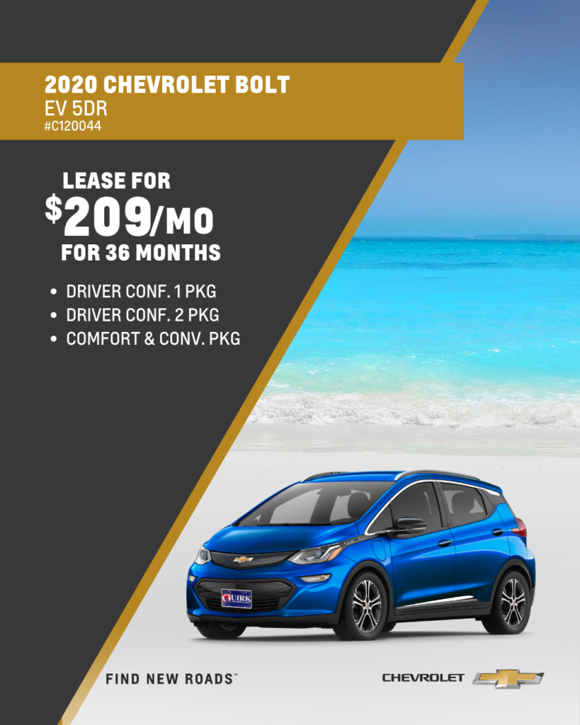 Lease 2020 Chevrolet Bolt LT EV Hatchback For $209/month, $2,000 Due At Signing