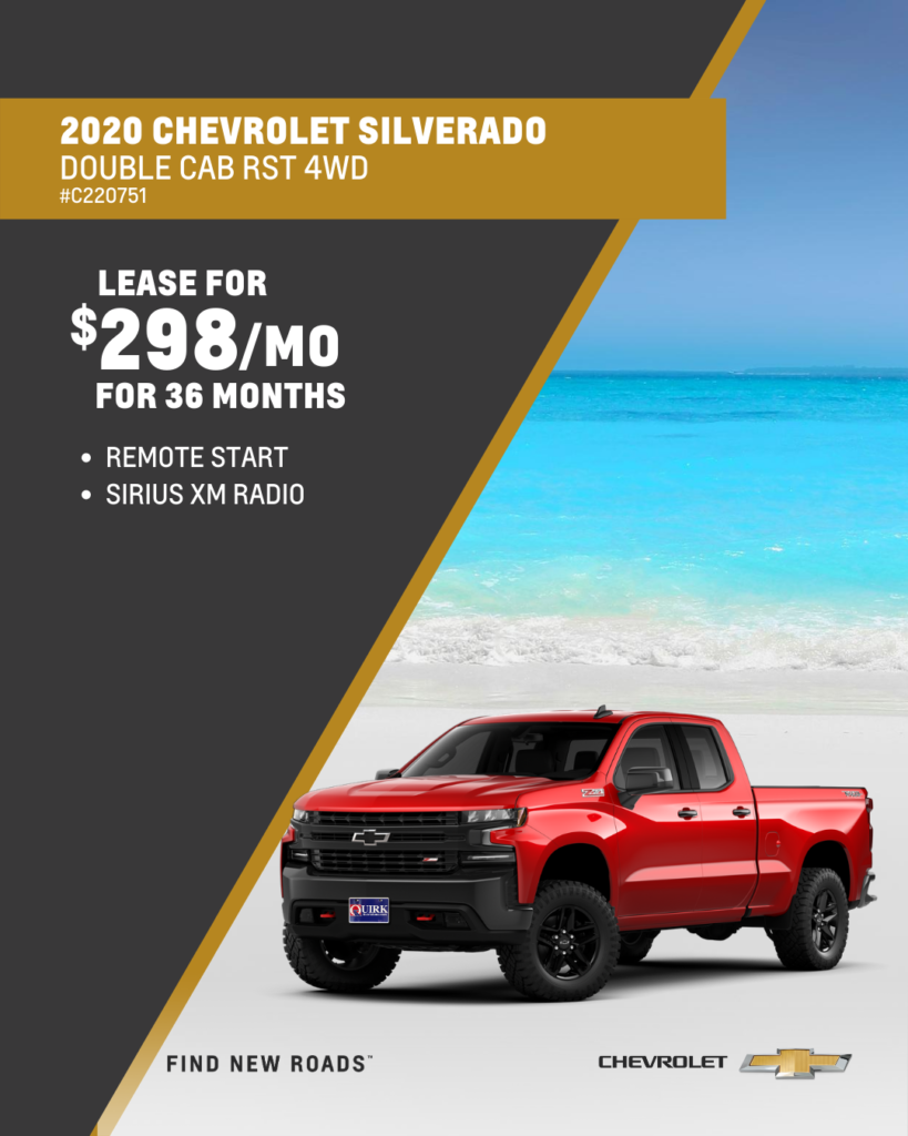 Lease 2020 Chevrolet Silverado 1500 Custom Double Cab 4WD For $298/month, $2,000 Due At Signing