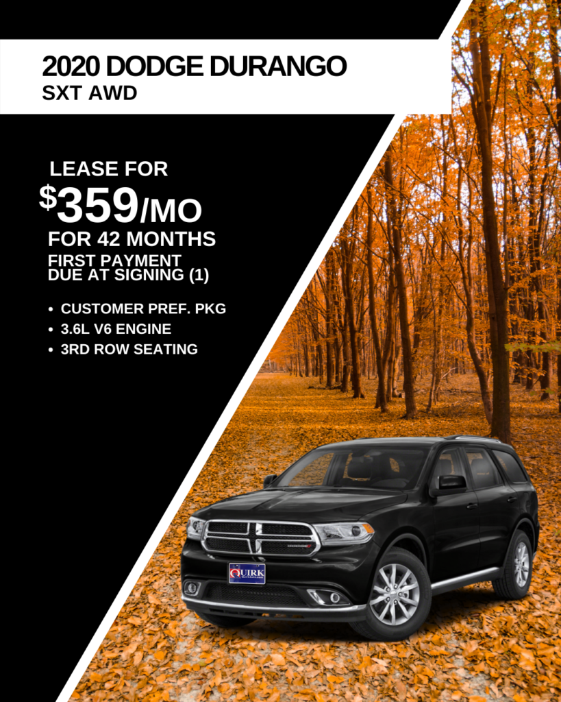 Lease 2020 Dodge Truck Durango SXT AWD SUV For $359/month, First Payment Only Due At Signing