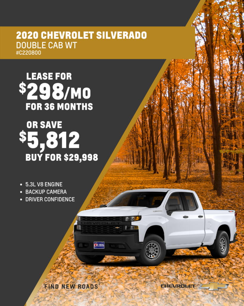 Save $5,812 and Buy 2020 Chevy SIlverado Work Truck Double Cab 2WD For $29,998