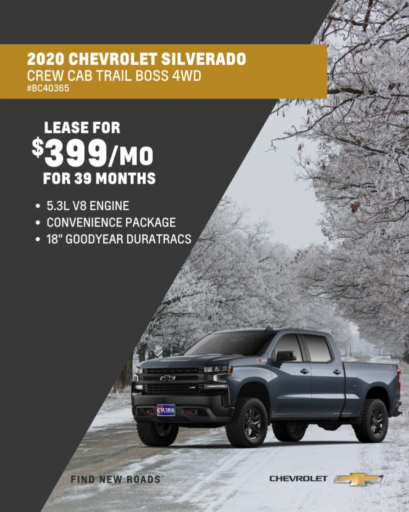 New 2020 Chevrolet Silverado 1500 Custom Trail Boss 4WD