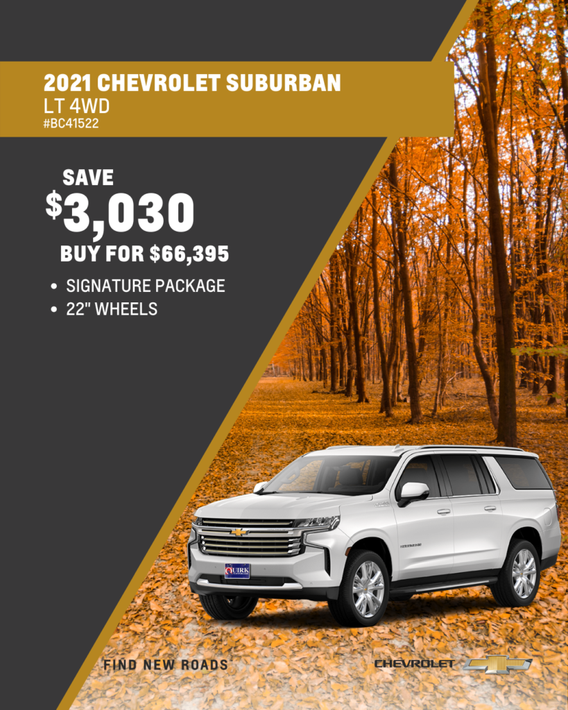Save $3,030 and Buy 2021 Chevy Suburban LT 4x4 SUV For $66,395