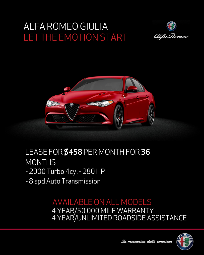 Lease 2020 Alfa Romeo Giulia Ti AWD For $458/month, $4,195 Due At Signing