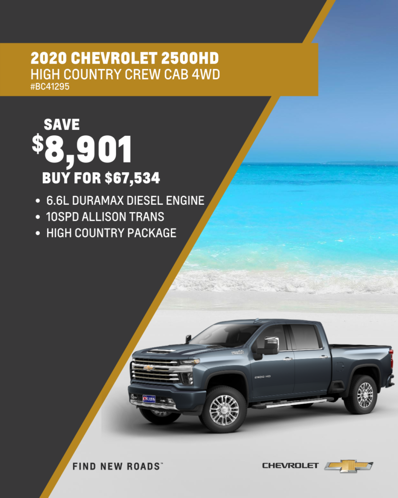 Save $8,901 and Buy 2020 Chevrolet Silverado 2500 High Country Crew Cab 4WD For $67,534