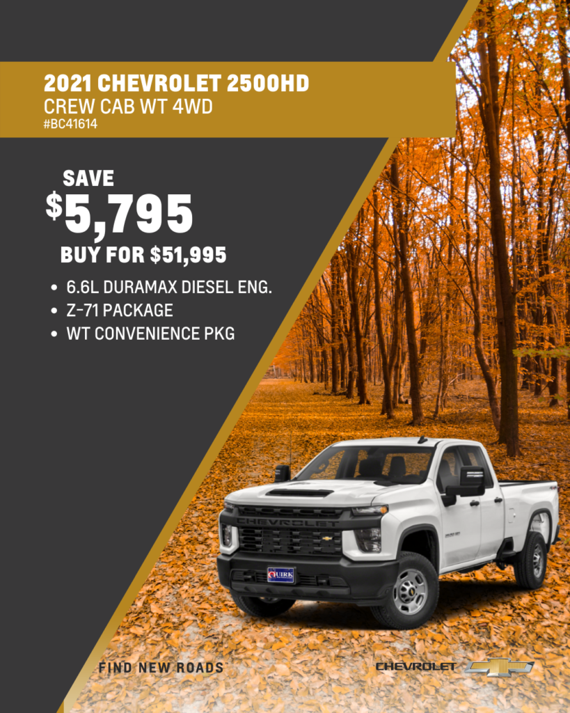 Save $5,795 and Buy 2021 Chevy Sliverado 2500HD DIesel Work Truck Crew Cab Z-71 4x4 For $51,995
