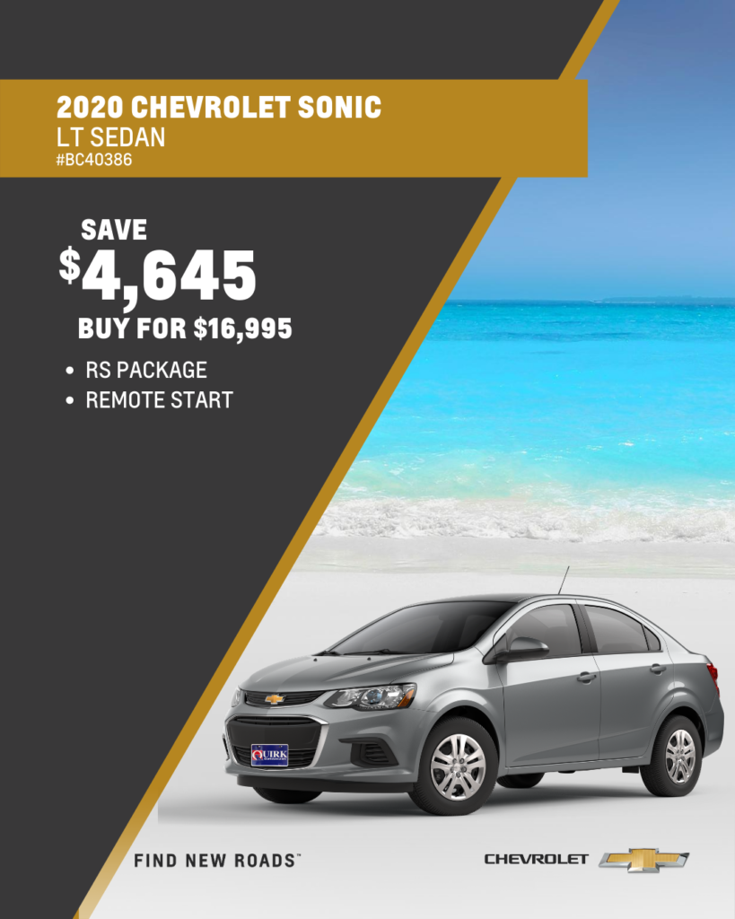 Save $4,645 and Buy 2020 Chevrolet Sonic LT Sedan For $16,995