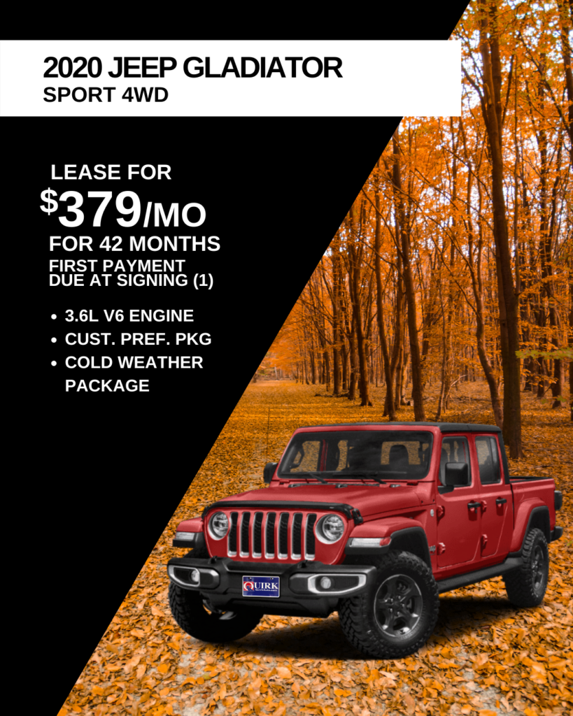 Lease 2020 Jeep Gladiator Sport 4X4 For $379/month, First Payment Only Due At Signing