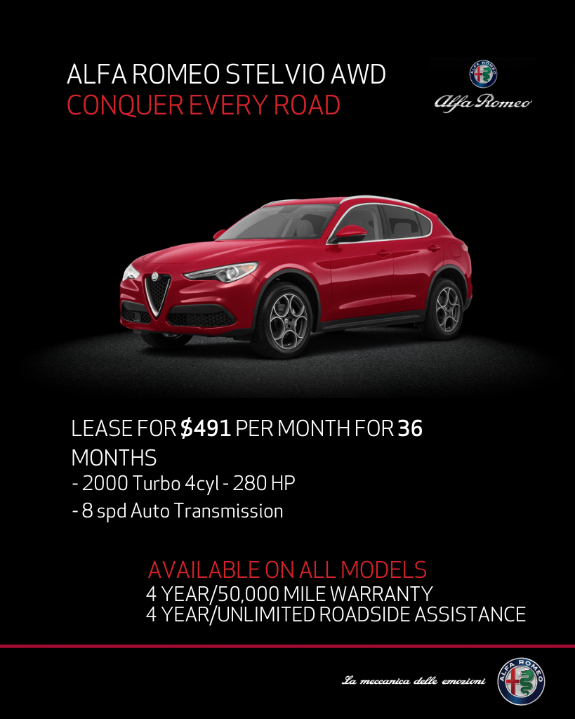 Lease 2020 Alfa Romeo Stelvio Stelvio AWD For $491/month, $4,195 Due At Signing