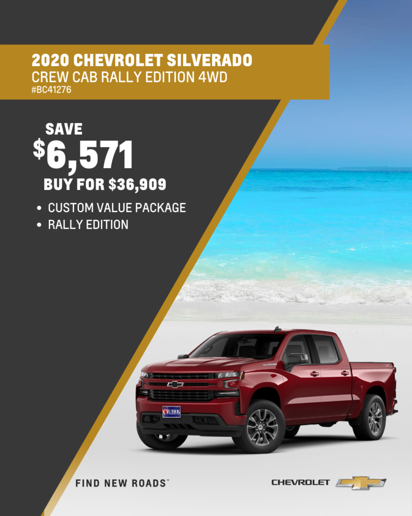 Save $6,571 and Buy 2020 Chevrolet Silverado 1500 Custom Crew Cab 4WD Rally Edition For $36,909