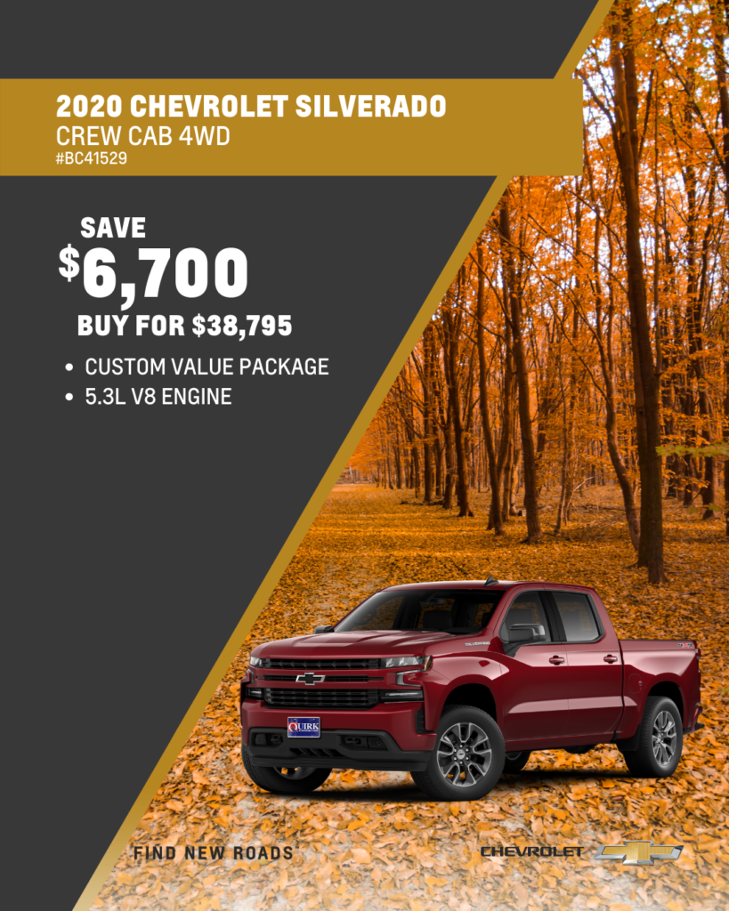 Save $6,700 and Buy 2020 Chevy Silverado Crew Cab Custom 4x4 For $38,795