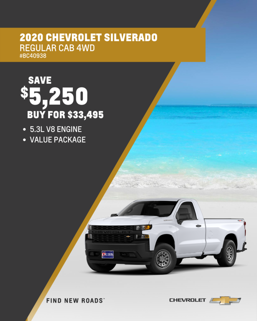 Save $5,250 and Buy 2020 Chevrolet Silverado 1500 Work Truck Regular Cab 4WD Long Bed For $33,495