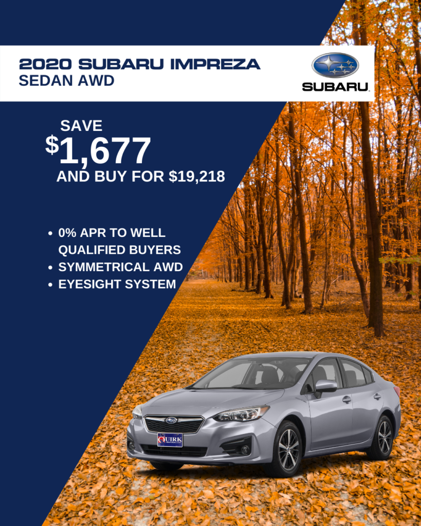 Save $1,677 and Buy 2020 Subaru Impreza Sedan For $19,218