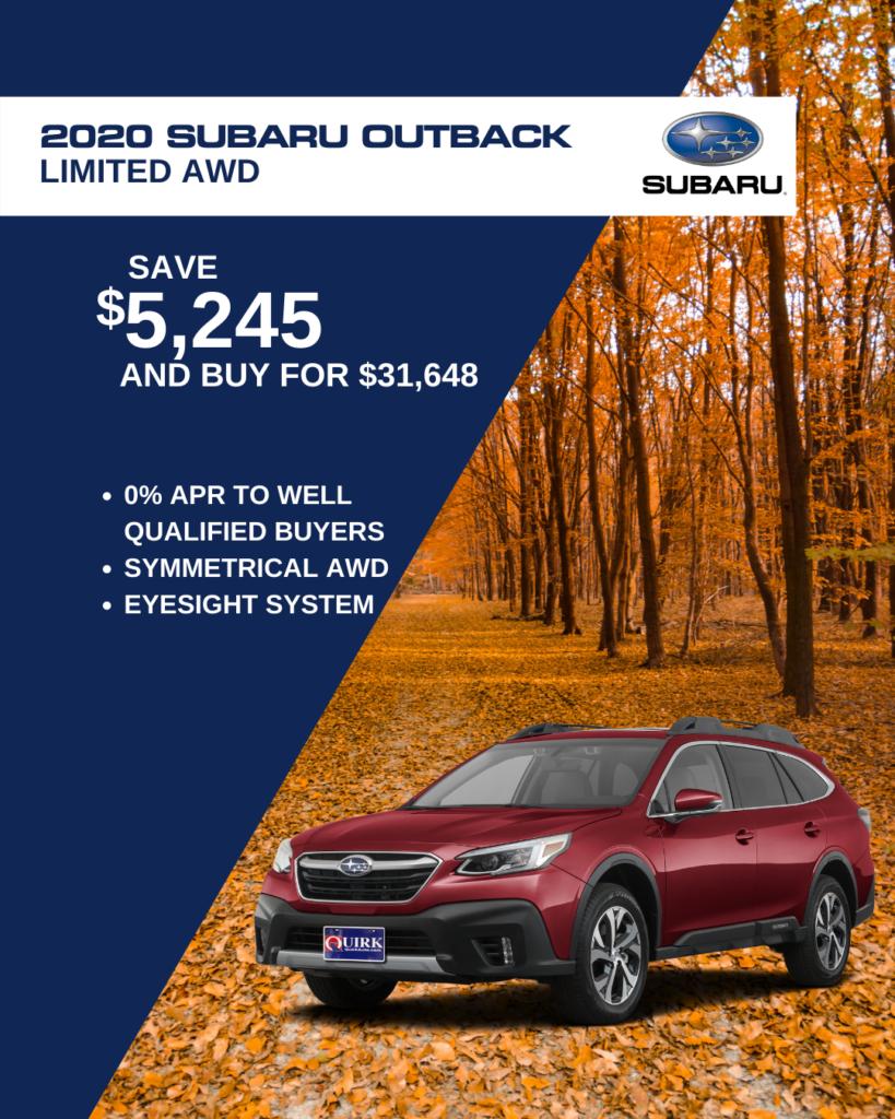 Save $5,245 and Buy 2020 Subaru Outback Wagon 2.5Di Ltd Nav Cvt For $31,648