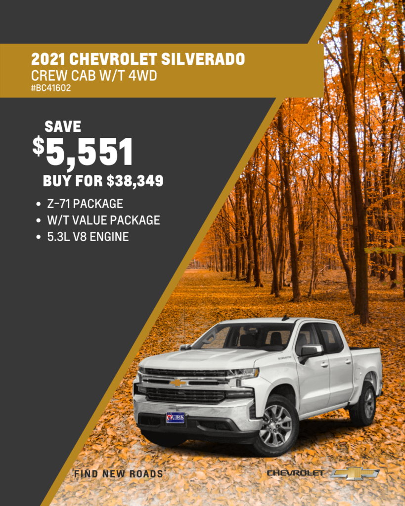 Save $5,551 and Buy 2021 Chevy Silverado Work Truck Z-71 Crew Cab 4x4 For $38,349