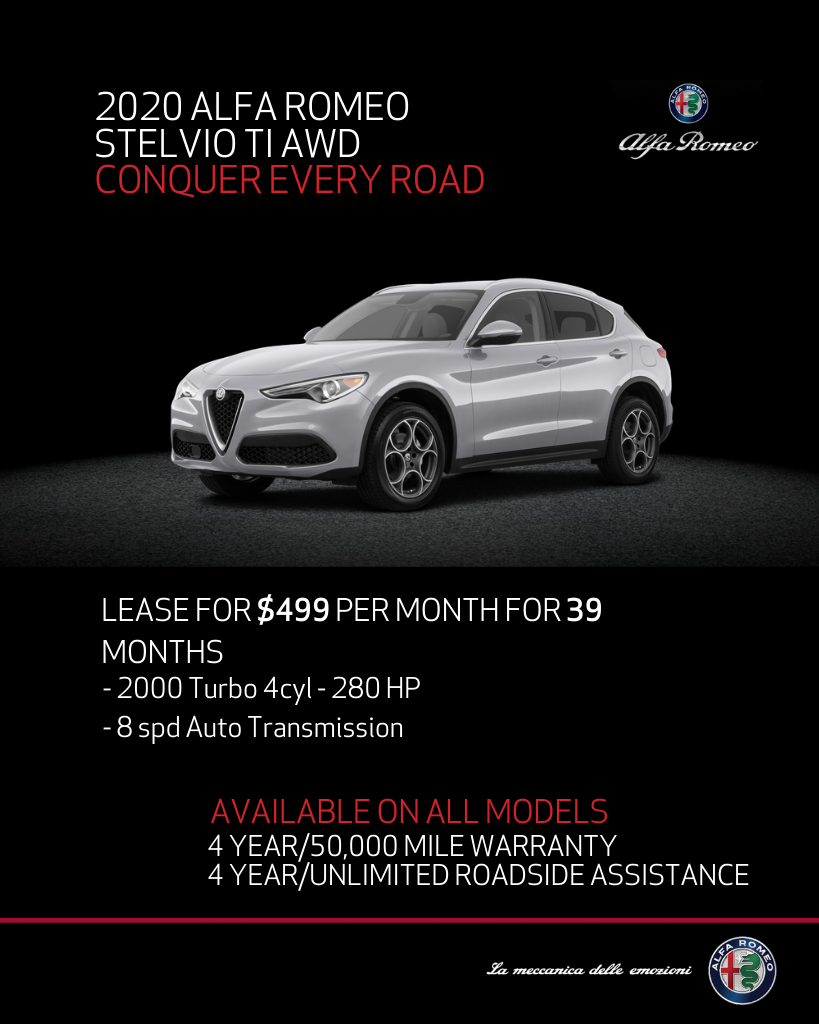 Lease 2020 Alfa Romeo Stelvio TI AWD For $499/month, $4,295+ Due At Signing