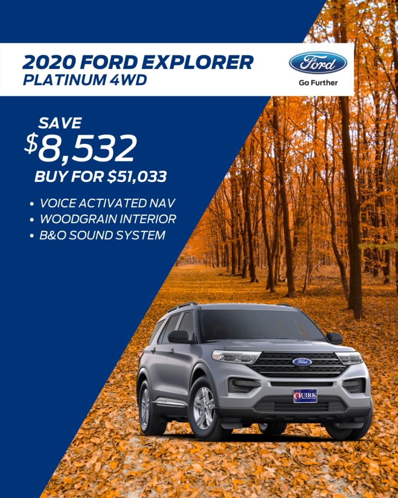 New 2020 Ford Explorer Platinum With Navigation & 4WD