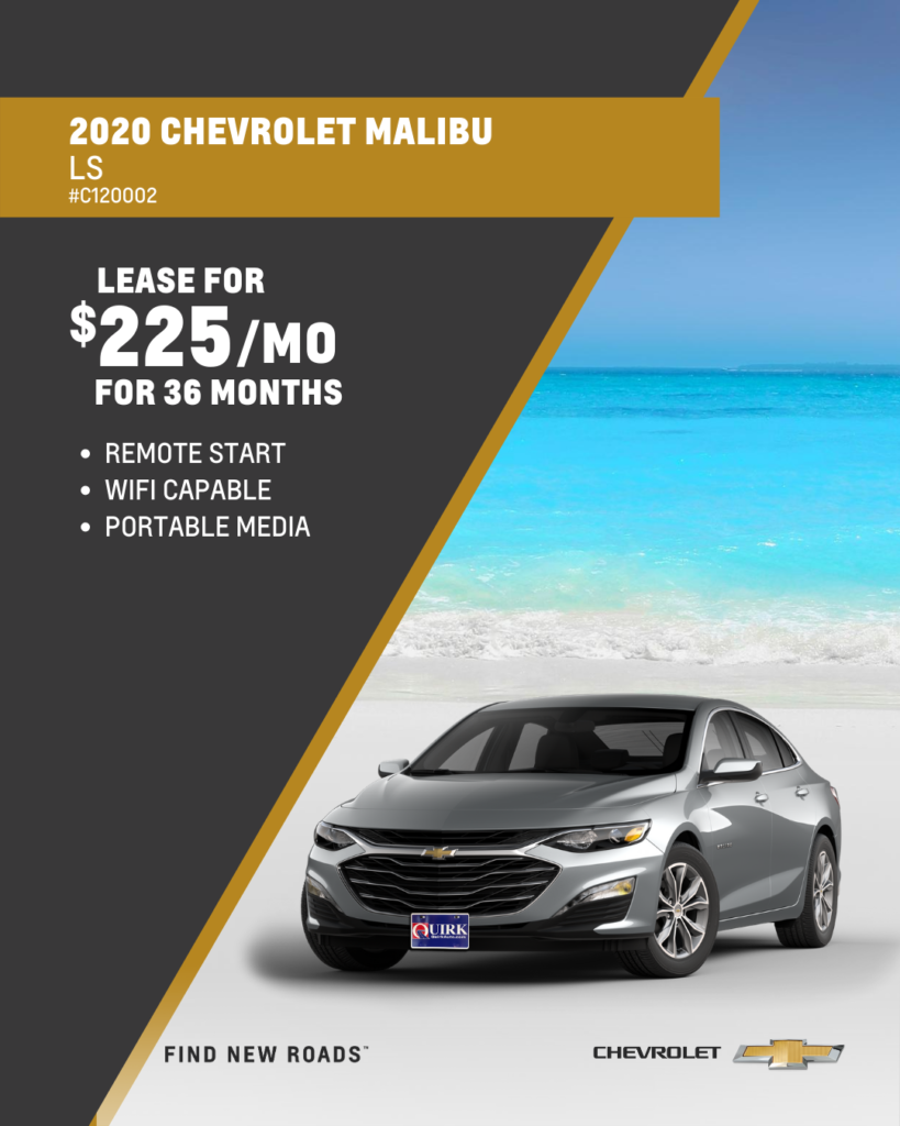 Lease 2020 Chevrolet Malibu LS Sedan FWD For $225/month, $2,000 Due At Signing