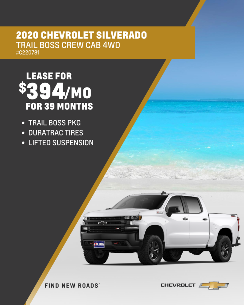 Lease 2020 Chevrolet Silverado 1500 Custom Trail Boss Crew Cab 4WD  For $394/month, $2,000 Due At Signing