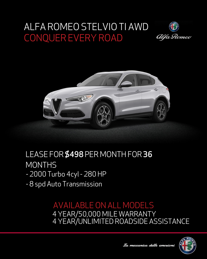 Lease 2020 Alfa Romeo Stelvio TI AWD For $498/month, $4,195 Due At Signing