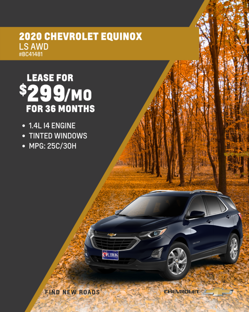 Lease 2020 Chevy Equinox LS AWD SUV For $299/month, First Payment Only Due At Signing