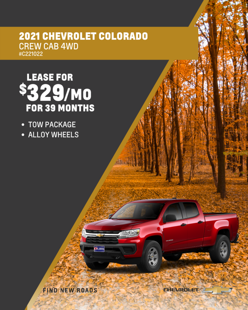 Lease 2021 Chevy Colorado Work Truck Crew Cab 4x4 For $329/month, $999 Due At Signing
