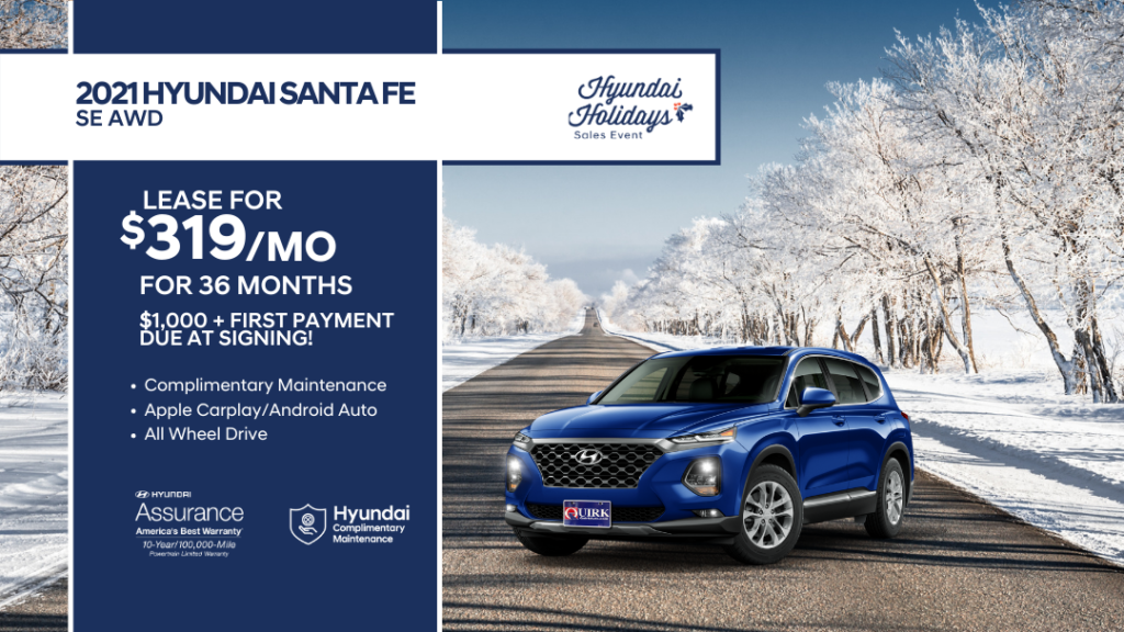 Lease 2021 Hyundai Santa Fe SE AWD SUV For $319/month, $1,319 Due At Signing