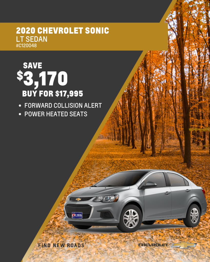 Save $3,170 and Buy 2020 Chevy Sonic LT FWD Sedan For $17,995