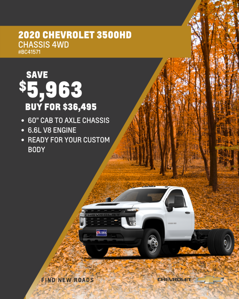 Save $5,963 and Buy 2020 Chevy Silverado 3500HD 4x4 Chassis For $36,495