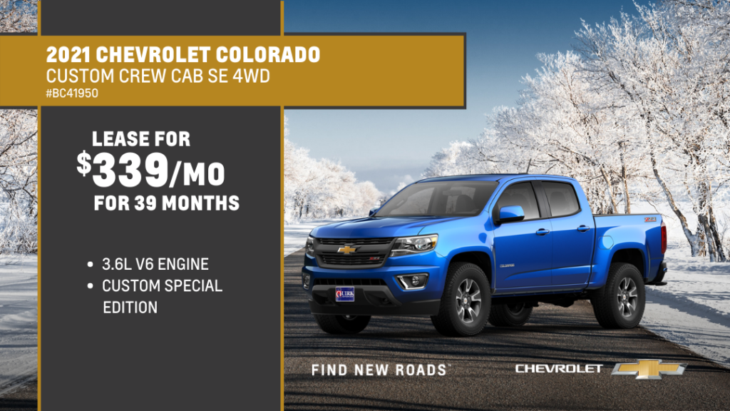 Lease 2021 Chevrolet Truck Colorado Crew Cab 140.5 WT For $339/month, $1,268 Due At Signing