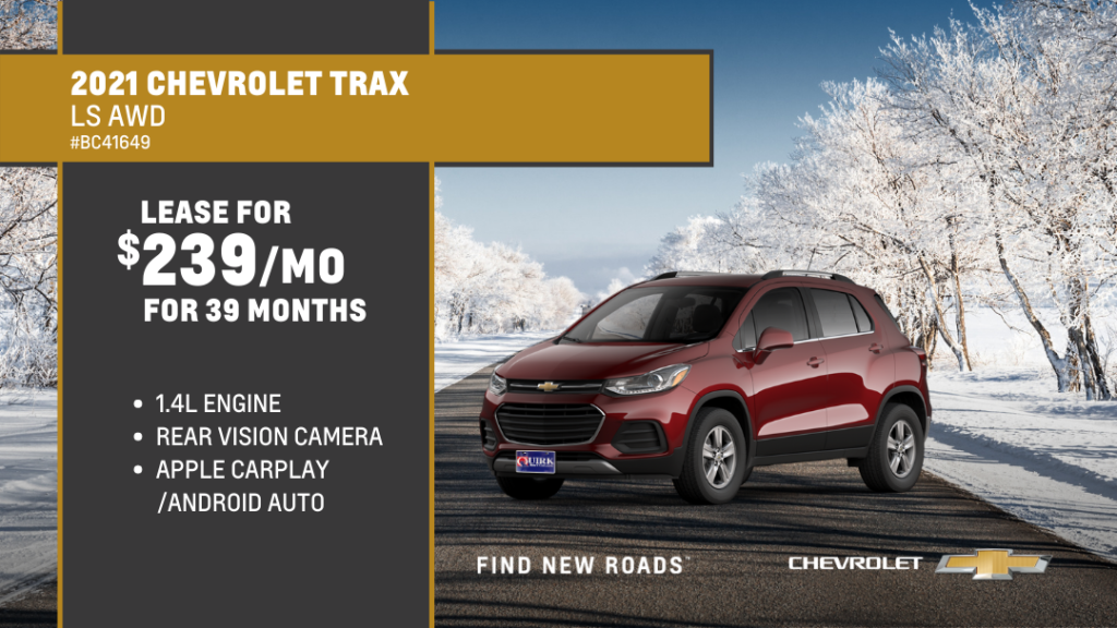 Lease 2021 Chevrolet Truck Trax 4Dr AWD LS For $239/month, $859 Due At Signing