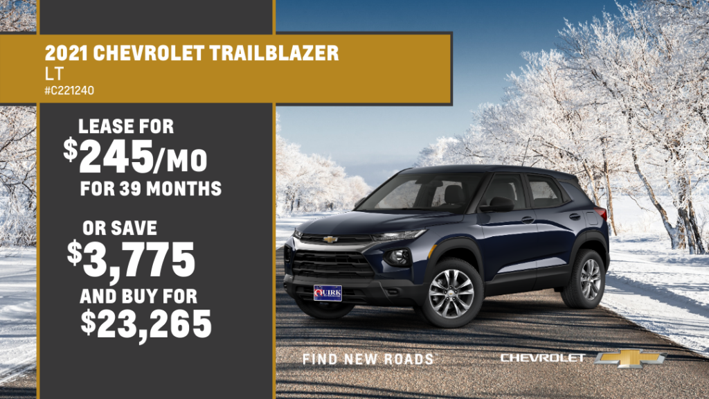 Lease 2021 Chevrolet Trailblazer LT For $245/month, $1,245 Due At Signing