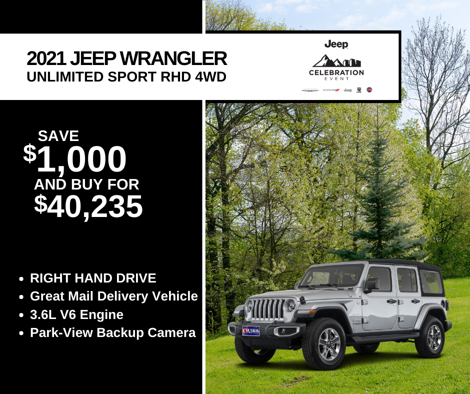 New 2021 Jeep Wrangler Unlimited Sport 4WD Right Hand Drive