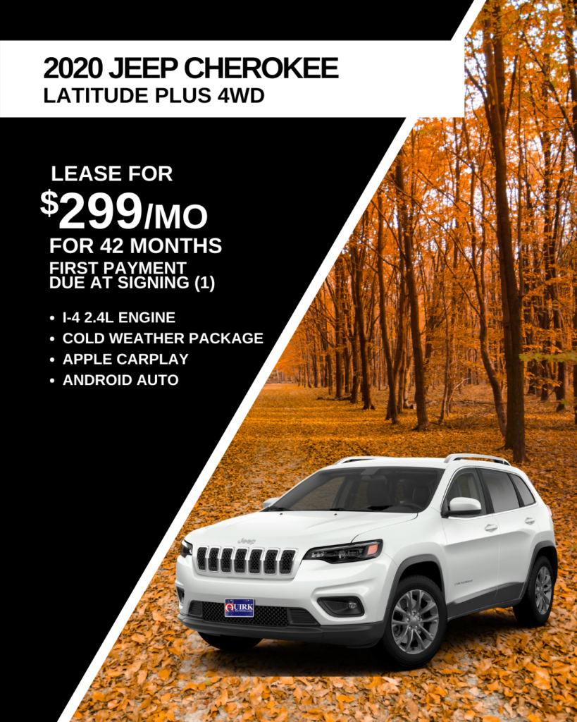 Lease 2020 Jeep Cherokee Latitude Plus 4X4 SUV For $299/month, First Payment Only Due At Signing